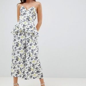 ASOS DESIGN structured bandeau jumpsuit with frill